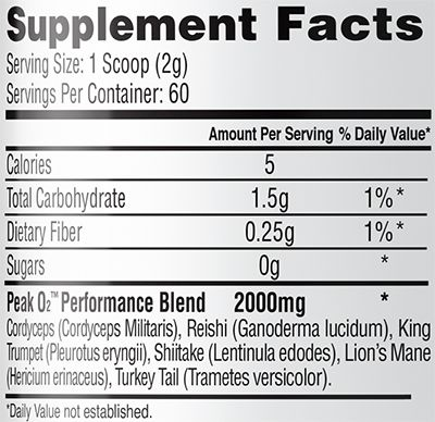 Peak O2 by PrimaForce - Supplement Facts