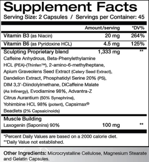 The Muscle Sculptor Supplement Facts